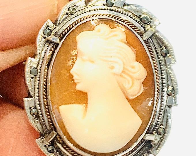 Superb vintage 800 silver & Marcasite Cameo brooch / pendant