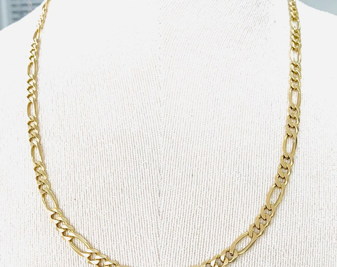 Superb heavy vintage 9ct gold 22 inch Figaro link chain - fully hallmarked - 28.5gms