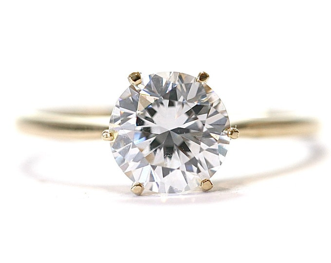 Superb sparkling 14ct yellow gold 1.5 carat Cubic Zirconia solitaire ring - fully hallmarked - size S or US 9