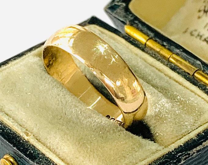 Vintage 9ct yellow gold wedding ring - hallmarked London 1970 - size L - 5 1/2