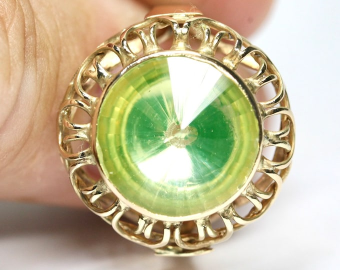 Superb huge vintage 14ct gold Lime Citrine statement ring - size U or US 10 1/4