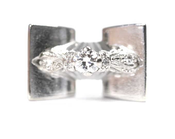 Fabulous heavy vintage 18ct white gold Diamond statement ring - stamped 18CT - size N or US 6 1/2
