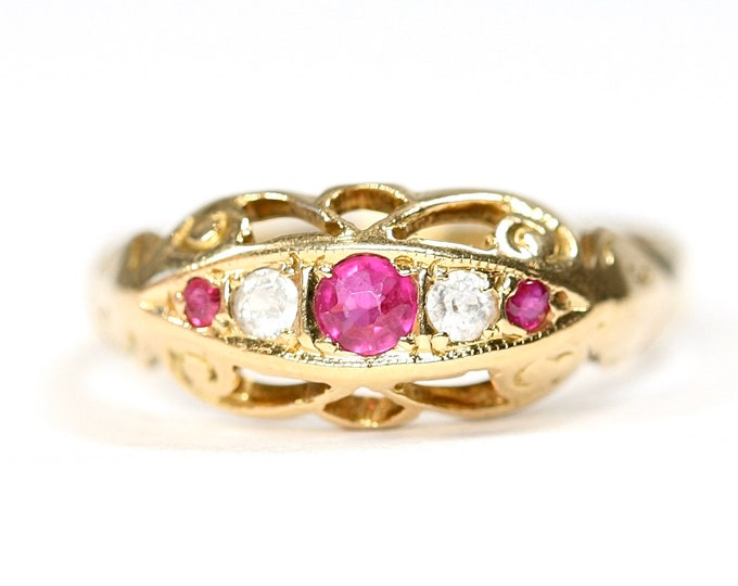 REDUCED ***Fabulous antique 18ct gold Ruby & Diamond boat ring - SIze O or US 7
