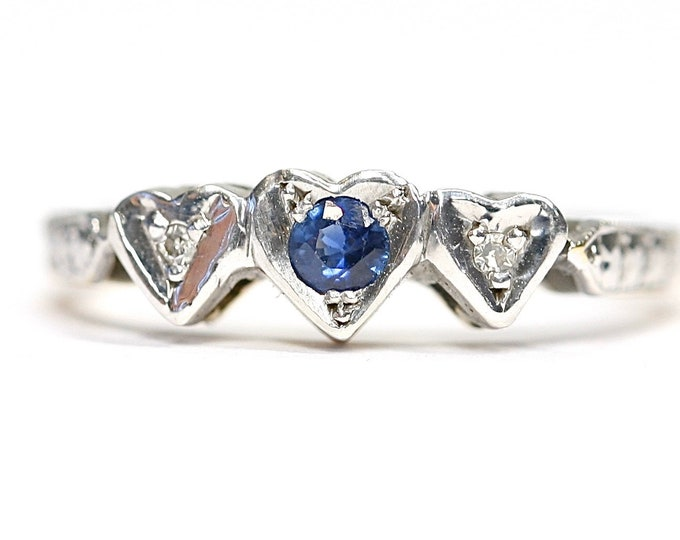 Asprey & Co antique Art Deco 18ct gold Sapphire and Diamond engagement ring- circa 1925