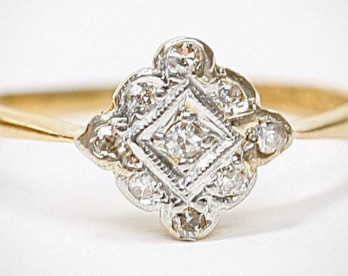 Fabulous antique Art Deco 18ct gold and Platinum Diamond engagement ring - size L / US 5.5