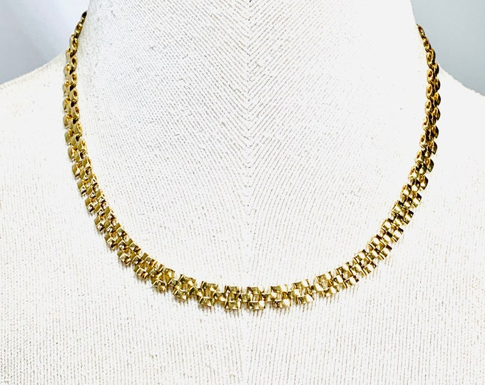 Superb heavy vintage 9ct yellow gold 16 inch patterned necklace - fully hallmarked - 15gms