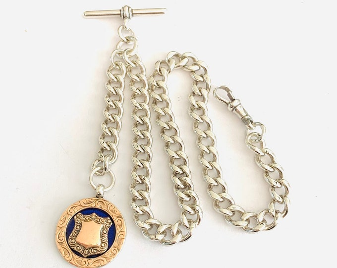 Superb heavy Victorian graduated sterling silver Albert pocket watch chain & silver / rose gold enamelled fob - Birmingham 1897