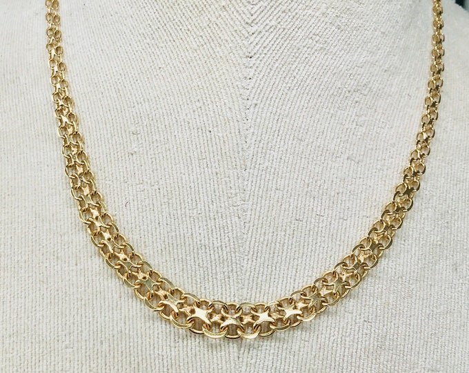 Stunning vintage 9ct yellow gold 18 inch fancy link necklace - fully hallmarked