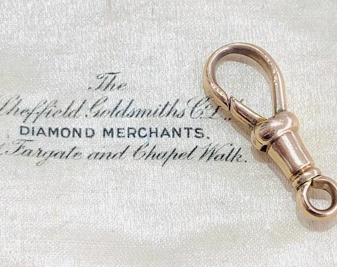 Antique 9ct rose gold Albert chain dog clip - fully hallmarked - 24mm