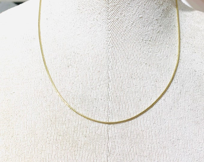 Vintage 9ct yellow gold 18 inch snake chain - fully hallmarked