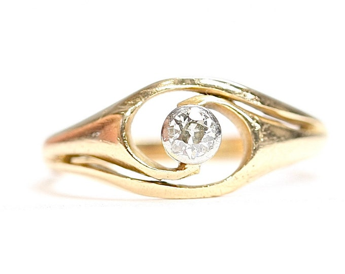 Superb antique Art Deco 18ct gold Diamond solitaire ring / engagement ring - size i or US 4 1/4