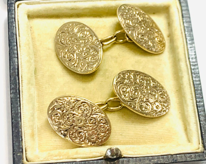 Superb heavy 109 year old 9ct gold Cufflinks - hallmarked Birmingham 1911 - 9.6gms