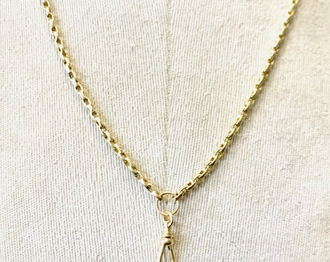 Antique Victorian 9ct yellow gold 22 inch Muff chain necklace with dog clip - 16.4gms