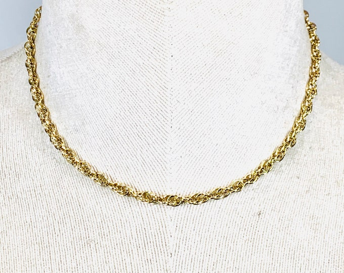 Superb heavy vintage 9ct yellow gold 14 inch Ladies Choker / Childs necklace- fully hallmarked - 13.3gms