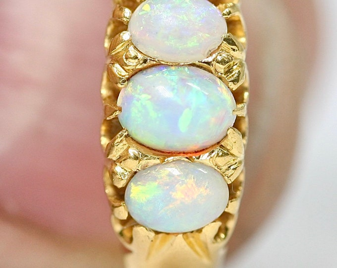 Fabulous rare Victorian 22ct gold Opal trilogy ring - hallmarked Birmingham 1872 - size O or US 7
