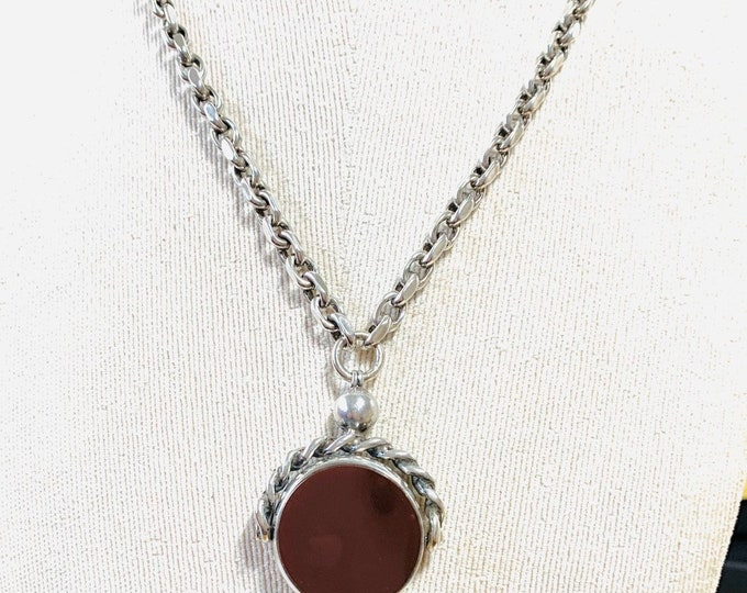 Stunning large Victorian sterling silver Carnelian and Bloodstone spinning fob pendant on 20 inch silver chain - Birmingham 1897