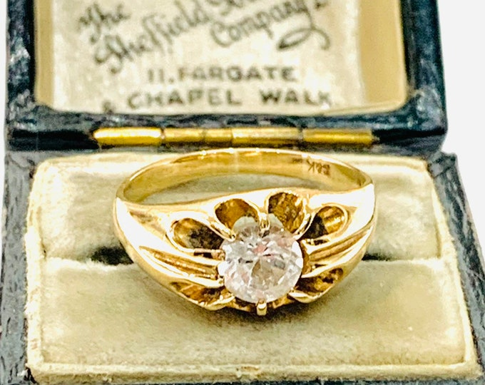 Sparkling vintage 9ct yellow gold Cubic Zirconia gypsy ring - size N - 6.5