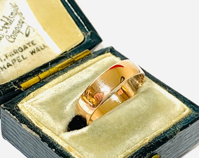 Superb 103 year old antique 9ct rose gold wedding ring - hallmarked Birmingham 1916 - size L / US size 5.5