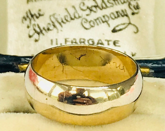 Lovely vintage 9ct yellow gold Ladies wide wedding ring - hallmarked London 1987 - size H 1/2 - 4