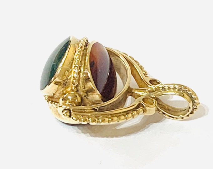 Superb large heavy vintage 9ct gold spinning fob with Onyx, Bloodstone and Agate - Sheffield 1985