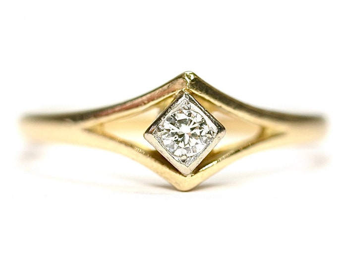 Superb antique Art Deco 18ct gold Diamond ring / engagement ring - size N or US 6 1/2