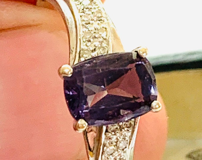 Stunning sparkling large size 9ct white gold V-AAA quality Tanzanite and Diamond ring - fully hallmarked - size U or 10 1/4