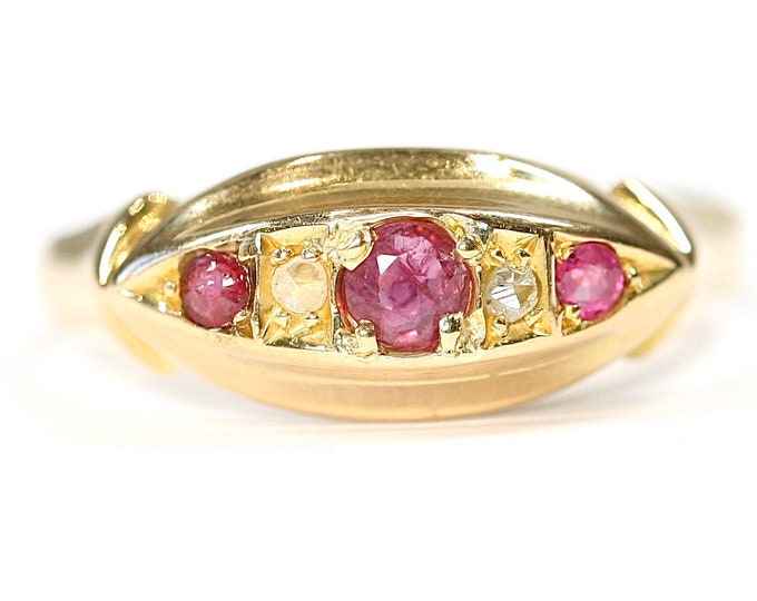 REDUCED ***Stunning antique 18ct gold Ruby & Diamond boat ring - hallmarked Chester 1911 - size N or US 6 1/2