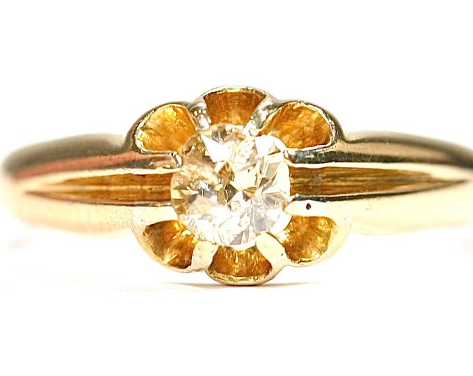 Superb antique Edwardian 18ct gold 0.33 carat Champagne Diamond Gypsy ring - size N or US 6 1/2