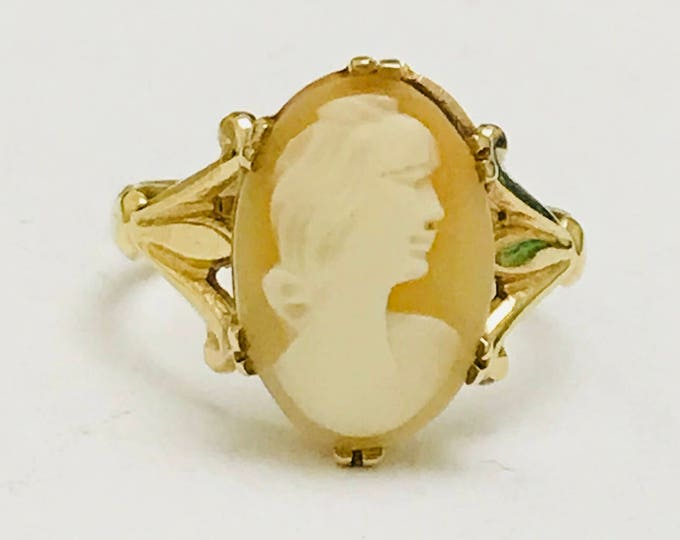 Lovely vintage 9ct yellow gold Cameo ring - Birmingham 1964