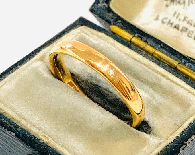 Antique 22ct gold wedding ring - Birmingham 1930 - size N - 6 1/2
