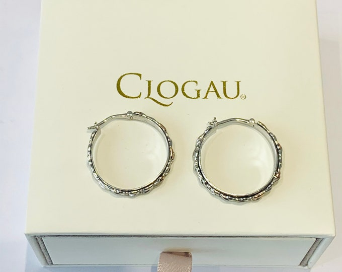 Stunning vintage rare 9ct Welsh Clogau rose gold and sterling silver hoop earrings - fully polished and in original presentation box