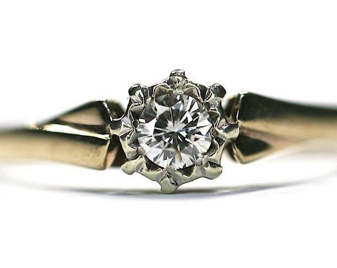 Stunning sparkling vintage 9ct yellow & white gold 0.20 Diamond solitaire engagement ring - hallmarked Birmingham 1988 - size N / 6.5