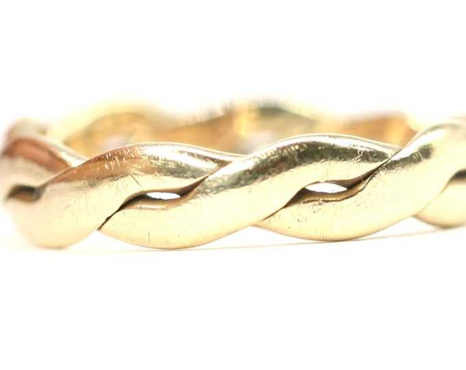 Vintage 9ct yellow gold twisted band ring - size i or US 4 1/4