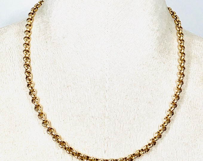 Superb heavy vintage 9ct yellow gold 20 inch Belcher link chain - fully hallmarked - 15.8gms