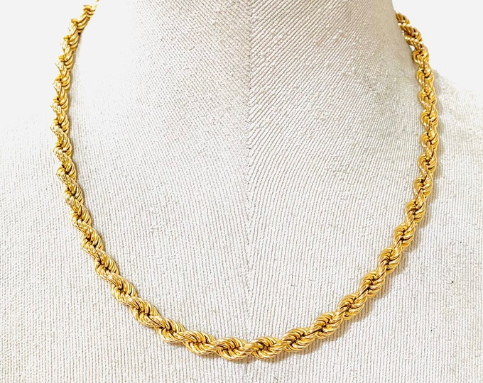 Superb vintage thick heavy 9ct gold 18 inch rope twist chain - fully hallmarked