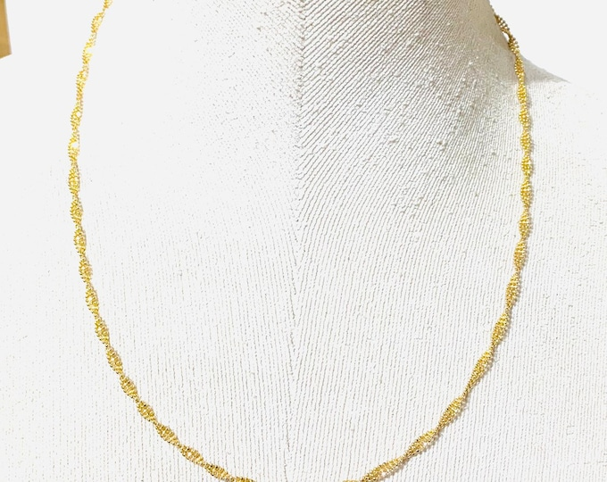 Superb 9ct gold 19 inch fancy chain / necklace - fully hallmarked