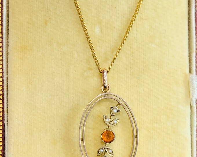 Superb antique Edwardian 9ct gold Orange Garnet and Seed Pearl 17 inch necklace in the original presentation box- Aldred & Sons