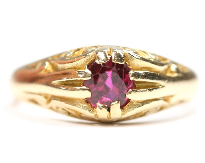 Antique heavy Edwardian 18ct gold Ruby Gypsy / pinky ring- fully hallmarked- size M 1/2 or US 6 1/4