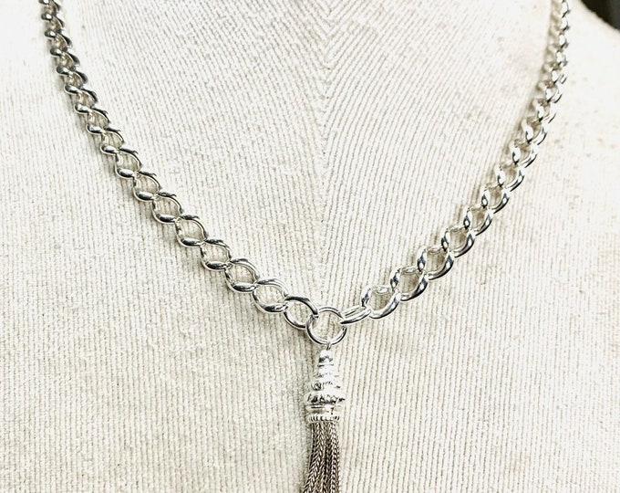 Superb Victorian sterling silver 16 1/2 Albert chain necklace with Tassel pendant