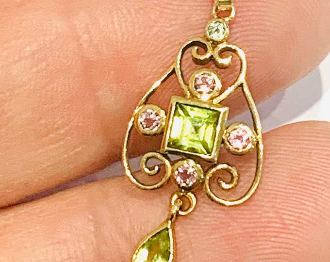 Superb antique 9ct yellow gold pendant with Aquamarine, Peridot & pink Sapphire