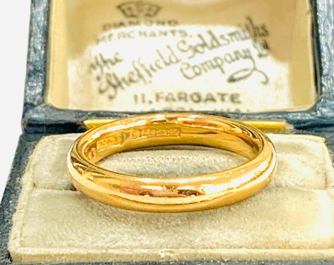 Stunning antique 22ct gold wedding ring - Birmingham 1914 - size K - 5