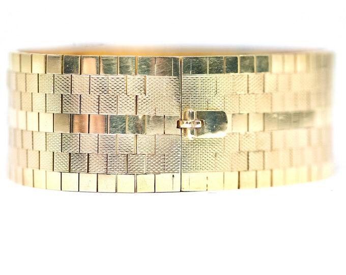 Stunning heavy vintage 9ct yellow gold 7 inch bracelet - hallmarked Birmingham 1964 - 60gms