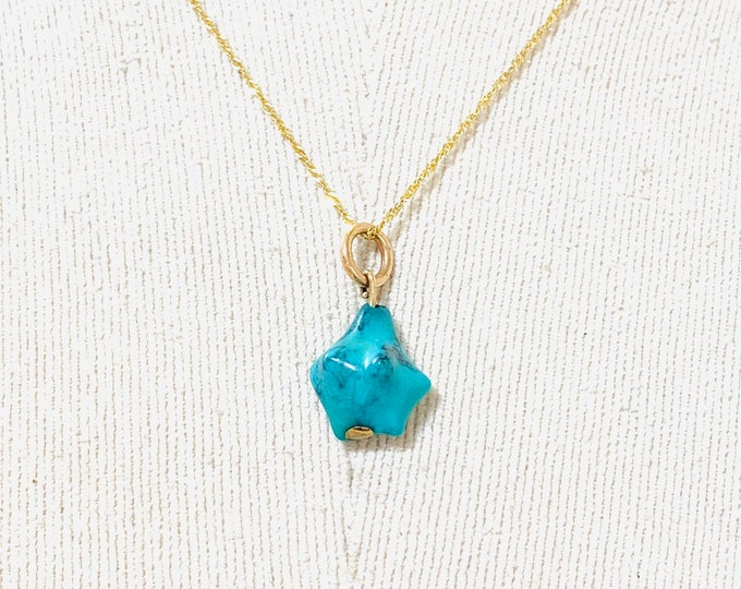 Vintage 9ct gold natural Turquoise pendant