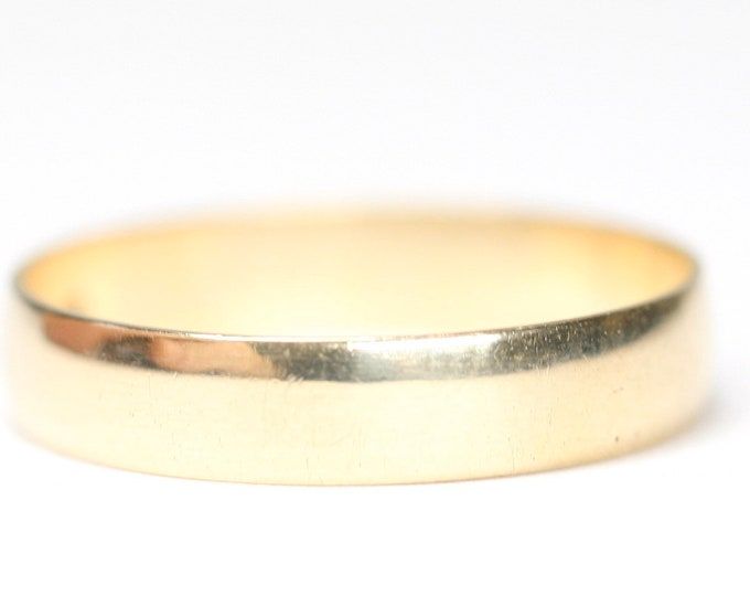Vintage 9ct gold plain band wedding ring - fully hallmarked - size N or US 6 1/2