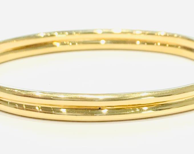 Vintage 9ct yellow gold 7 1/2 inch bangle - hallmarked London 1983 - 11gms