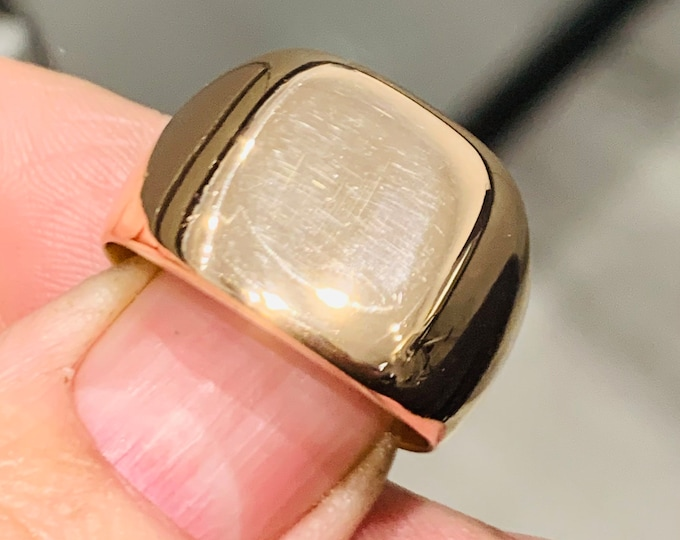 Superb very heavy antique 18ct rose gold signet ring - stamped 750 - size T or US 9.5 - 15gms