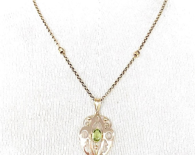 Stunning antique Edwardian 9ct rose gold Peridot Lavalier on a 17 inch rose gold fancy link chain - circa 1906