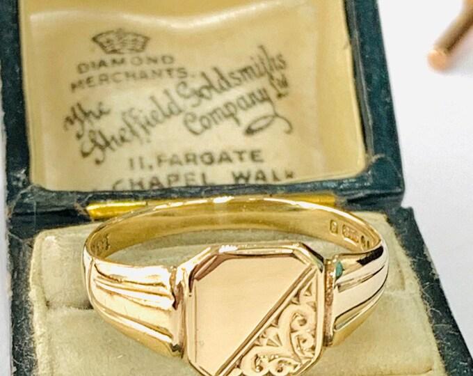Stunning vintage 9ct gold Men's signet ring - London 1970 - size Z - 12 1/2