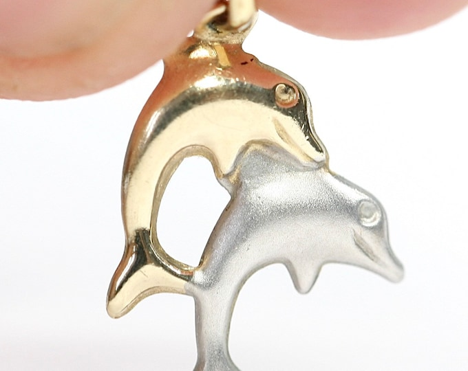 Vintage 9ct white and yellow gold Dolphin pendant / charm - stamped 375