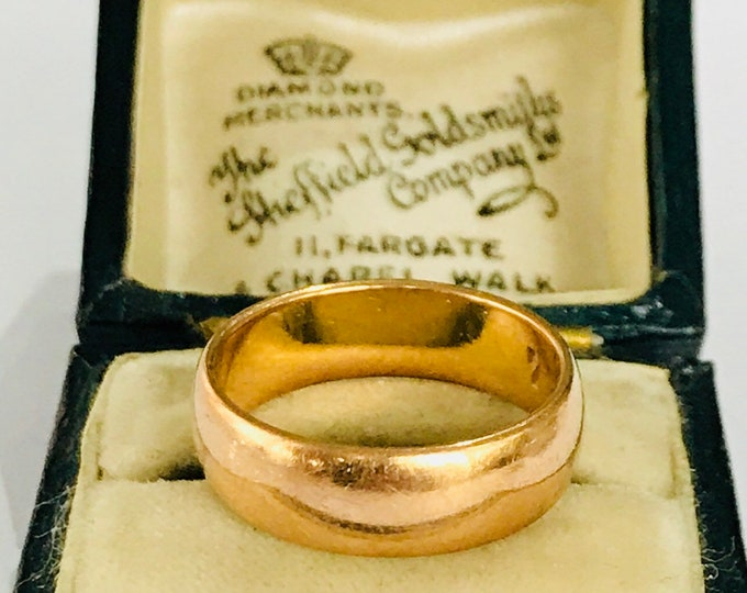 Stunning vintage 22ct gold wedding ring - hallmarked London 1963 - size K 1/2 - 5 1/4
